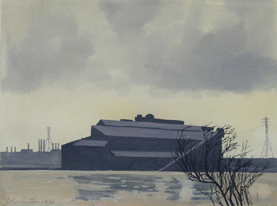 Beautiful near monochromatic Gouache of the Ford Plant in Dearborn, Michigan done by John Button in 1970