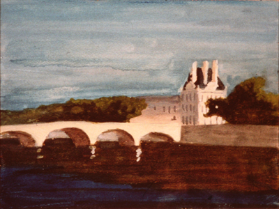 This painting of Pont Royal and the louvre by the artist John Button is done in Gouache on paper