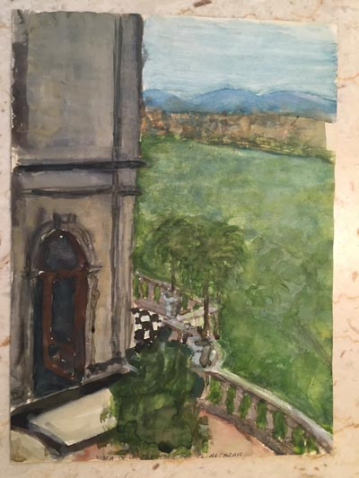 Watercolor of a window and the view beyond